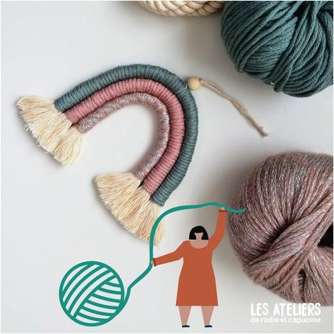 Fabrication d'un arc en ciel tissé en corde et laine ** Radis et Capucine